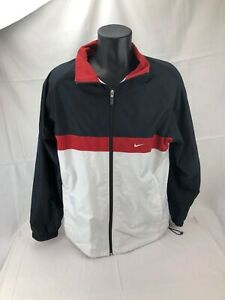 30db38050f6b Nike Red White Black Full Zip Track Jacket Warm up Athletic Workout ...