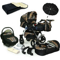 Baby Pram Stroller Swivel Wheels + Car Seat - Pushchair Buggy Umbrella Footmuff