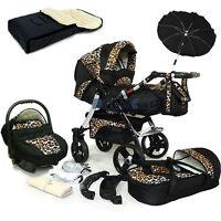 Baby Pram Stroller Swivel Wheels + Car Seat - Pushchair Buggy Umbrella Footmuff