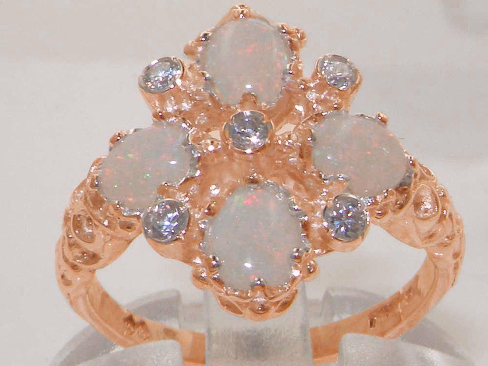 Solido 9ct rosa oro Naturale Opale & Anello Di Diamanti Diamanti Diamanti Vintage e39e3d