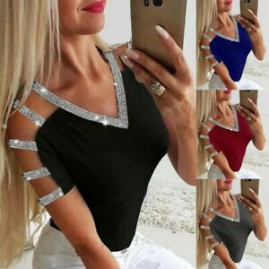 Women-Ladies-Sparkly-Cold-Shoulder-Long-Sleeve-Party-Pullover-Casual-Blouse-Tops