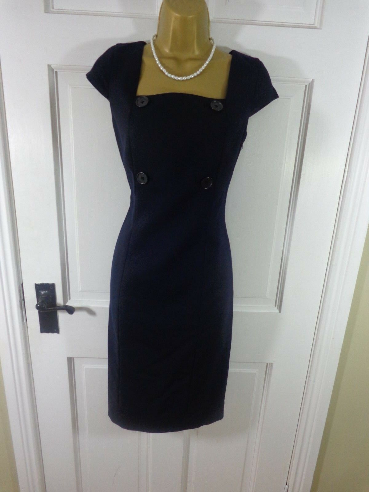 Hobbs London Navy bluee 100% WOOL Lined Pinafore Style Dress, Exc Cond