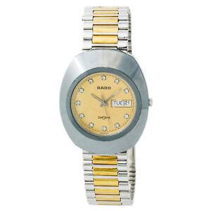091bea023c577 Rado Diastar Gold Dial Mens Quartz Watch Stainless Steel And Gold ...