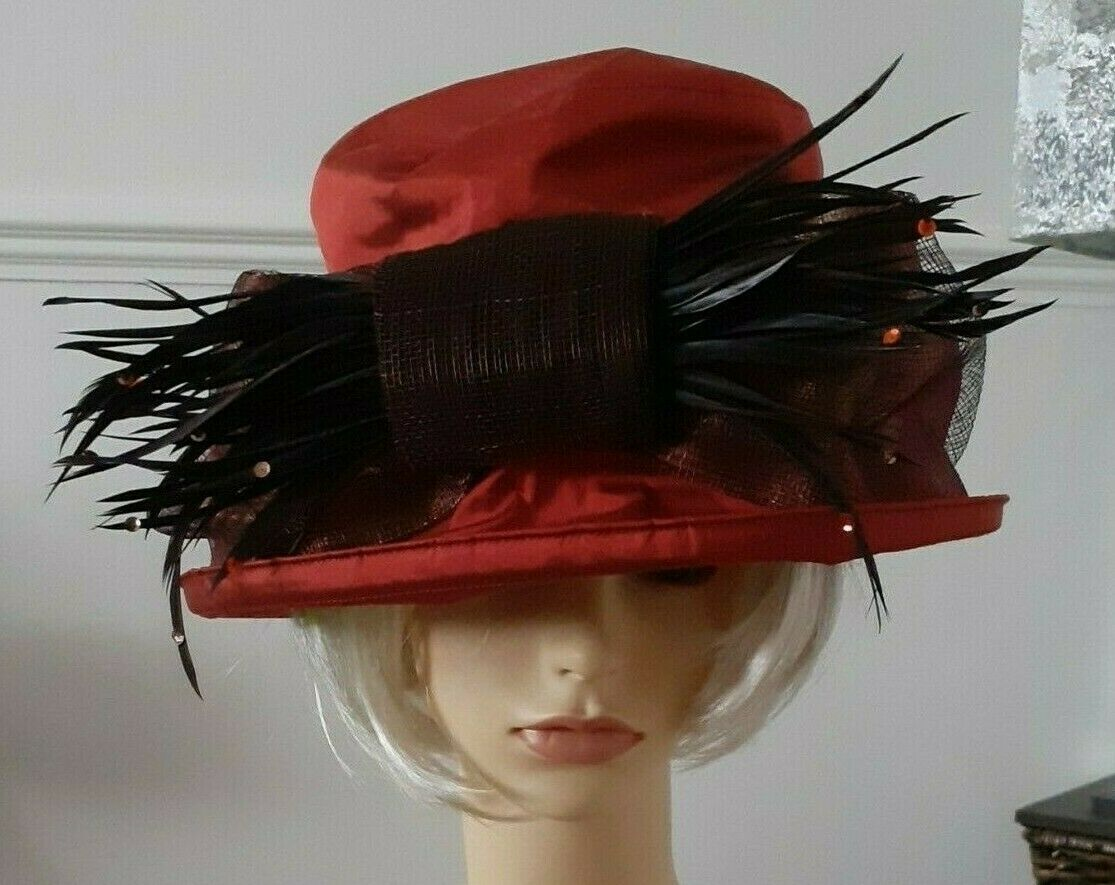 Sarah Crozier silk hat ~ orange/terracota rust~vintage style Wedding Racing