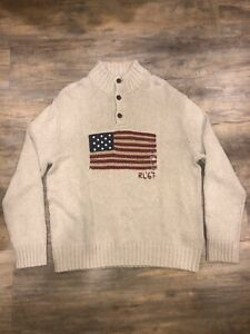 New-Polo-Ralph-Lauren-Men-s-Knit-Sweater-RL-67-USA-Flag-Size-XXL-Beige
