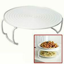White Microwave Tray 4-in-1 Food Cover Holder Round Plate Double Layer Dish Rack