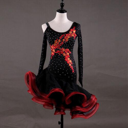 New Latin Dance Dress Tango Salsa Costume Ballroom Black Cmpetition Dress 1802