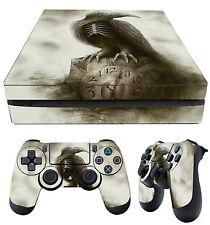 PS4 Slim Skin Ghost Raven Clock Poe Gothic Eerie + 2 X Pad Decals Vinyl LAY FLAT