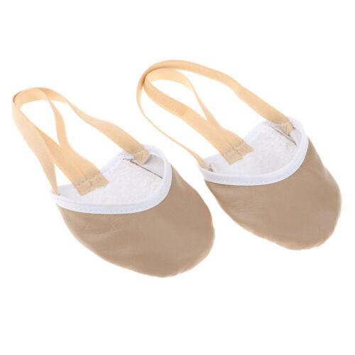 Prettyia Adult Girls Leather Ballet Dance Fitness Gymnastics Half Toe Shoes