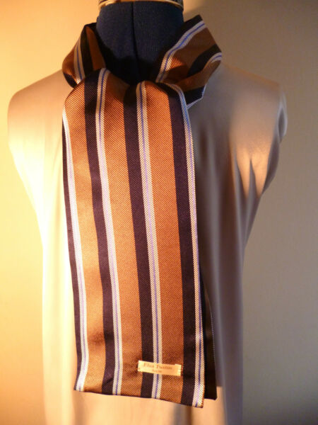 100% Seda Tejida Para Hombre Cravat/scarf Tan/blue/white Rayas Nueva-ver