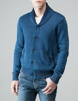 NWT TRUE RELIGION $198 MENS INDIGO BRANDED CARDIGAN SWEATER SZ L LARGE | eBay