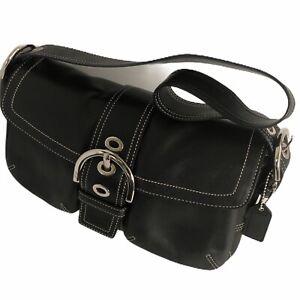 COACH-Black-Leather-Flap-Soho-Purse-Shoulder-Bag-Handbag-12x7x4