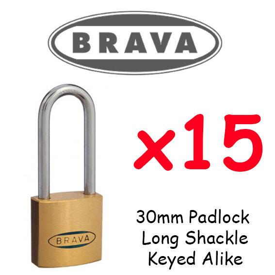 Candados x15 con llave por igual Brava 30mm Largo Grillete Lote a granel de alta calidad