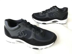 950-CHANEL-CC-LOGO-BLACK-LEATHER-SUEDE-LACE-UP-TRAINERS-SNEAKERS-SHOES-SIZE-36