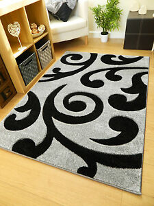 new small large grey black scroll design soft thick carved floor