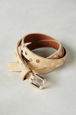 NWT Anthropologie Genuine Leather Beige Gold Dancing Dot Skinny Belt Size XS