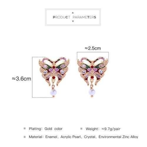 Boucles d/'oreilles Insecte Papillon Mini Perle Email Vert Rouge Renaissance XX30