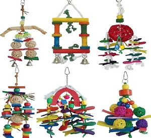 PARROT-TOYS-Wooden-Hanging-Toy-Rope-Bell-Rawhide-Bird-Cockatiel-Pet-dm-PawMits