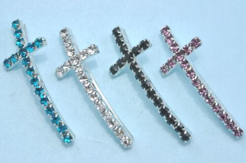 10x Rhinestone Diamante Silver Plated Curved Cross Charm Bracelet Spacers Beads