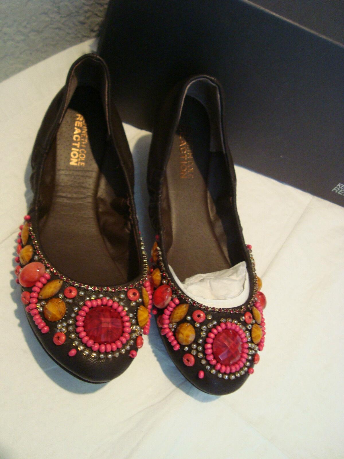 NEU Kenneth Cole Reaction Damenschuhe Jeweled Braun Flats Schuhes 6 Medium