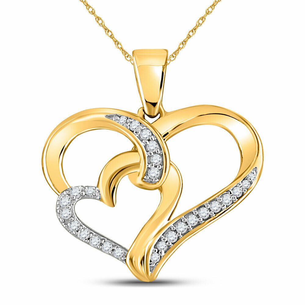 10kt Yellow gold Womens Round Diamond Double Heart Pendant 1 10 Cttw
