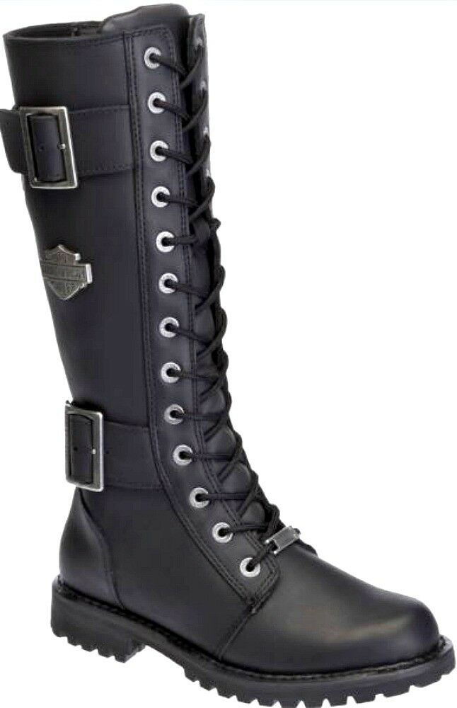 Harley-Davidson® Women's Tall Belhaven Black Leather Motorcycle Boots D87082