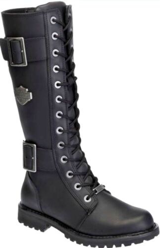 Harley-Davidson® Women/'s Tall Belhaven Black Leather Motorcycle Boots D87082