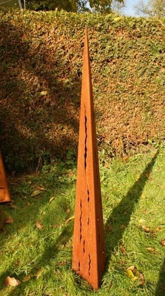 Garten Deko Säule  Raindrops mit Risse 150 cm Rostsäule