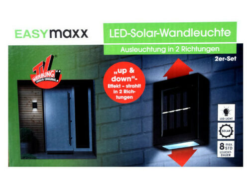 2er-Set Solar LED Wandleuchte Tageslichtsensor Außen Lampe  EASYMAXX NEU *