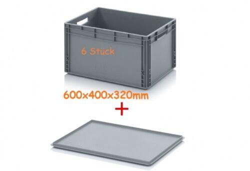 6x Eurobox plus Auflagedeckel 600x400x320mm