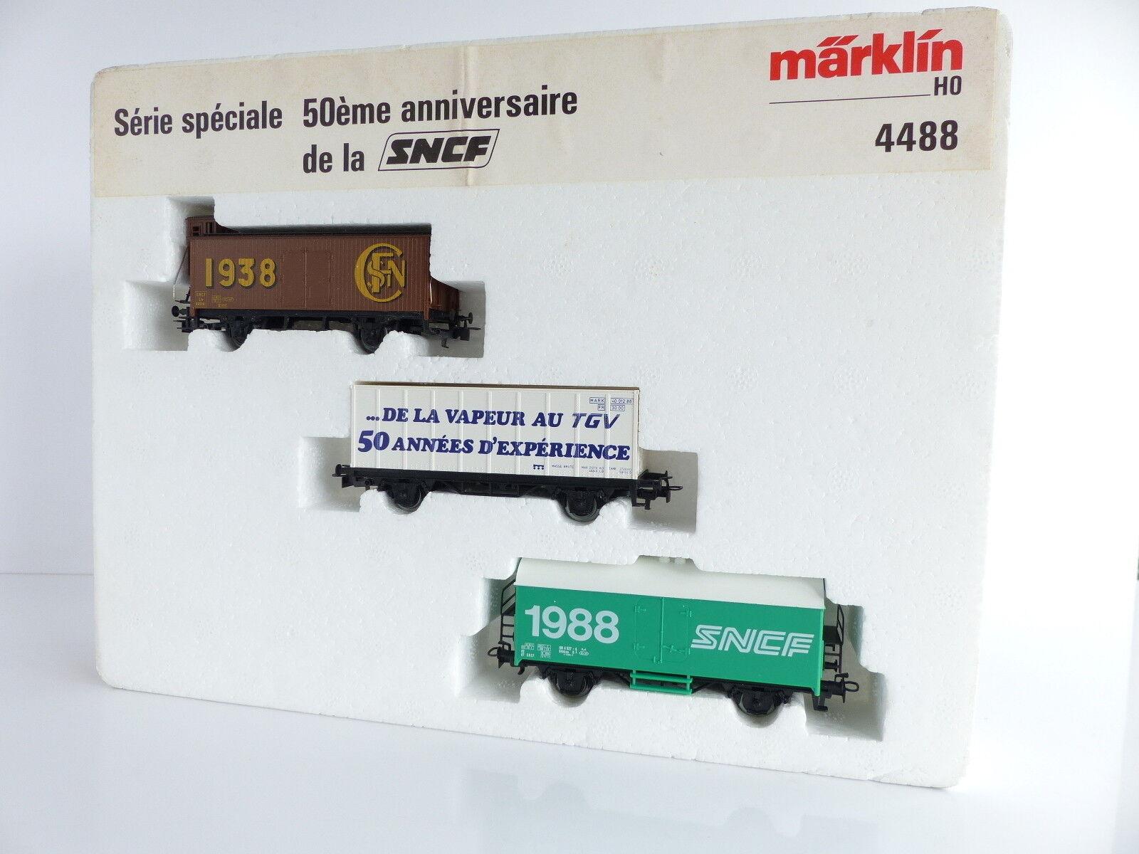 MARKLIN COFFRET DE 3 WAGONS SERIE SPECIALE 50E ANNIVERSAIRE DE LA SNCF REF 448