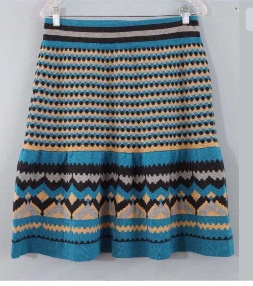 Sz M GIRLS FROM SAVOY Anthropologie Wool Mesa Print Sweater Skirt NWOT