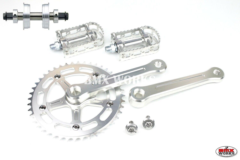 Probmx Bmx 3 pieza conjunto de manivelas de aluminio plateado y MKS BM-7 Pedales Soporte Inferior