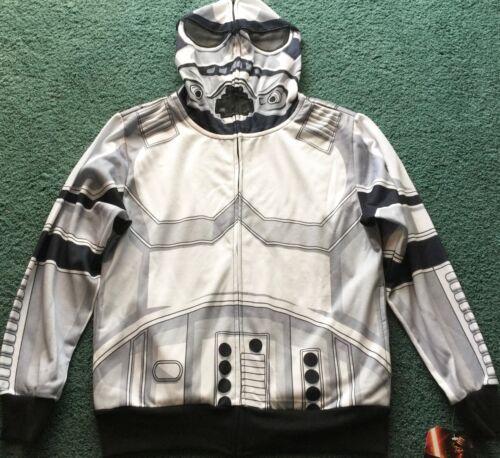 Neuf Avec Étiquettes Garçons L Blanc//Gris//Noir Stormtrooper Star Wars Costume Sweat À Capuche Sweat-shirt YLG