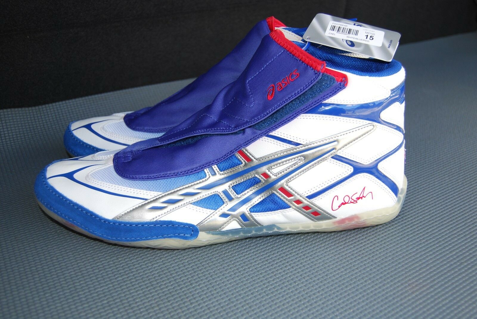 ASICS Cael Men's Wrestling shoes, White, bluee, Red, Size 15, NWT