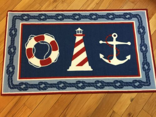 Nautical Lighthouse Seashore Seaside Accent Rug Anchor Lifesaver Ring Accent Rug