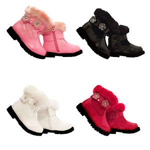 Girls-Baby-Infant-Children-Winter-Ankle-Zip-Fur-Trim-Casual-Party-Boots-Shoe-Sz
