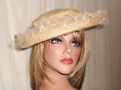 Vintage Hat Women's by Rawak Model New York Paris Size 22 Netting Wide Brim Tan