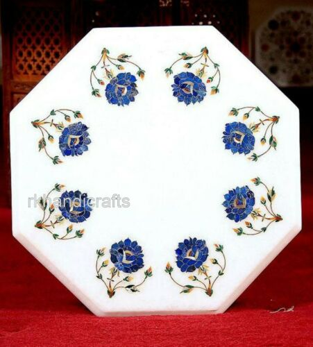 15 Inches Marble Side Table Top Inlay End Table Flowers Design All Purpose Use