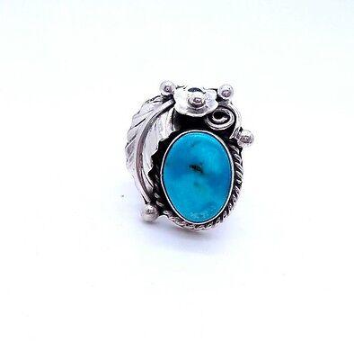 Navajo Handmade Sterling Silver Kingman Turquoise Leaf Ring