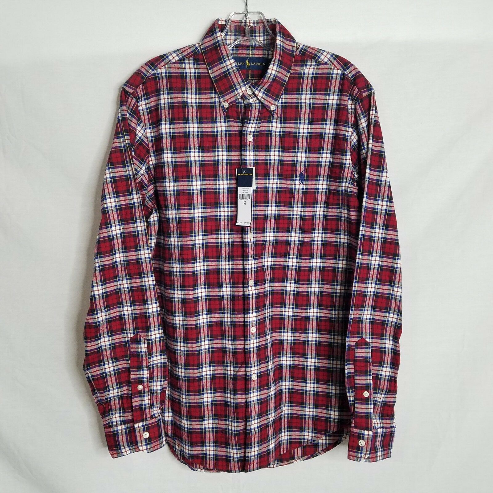 NEW Polo Ralph Lauren Uomo Long Sleeve Sleeve Sleeve Button Fornt Plaid Shirt Medium K106P a45be2