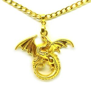 18k-Yellow-Gold-Chain-Link-20-034-Women-039-s-Men-039-s-Necklace-And-Winged-Dragon-D417