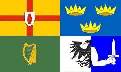 IRELAND 4 PROVINCES FLAG 5' x 3' Connacht Leinster Munster Ulster Irish County