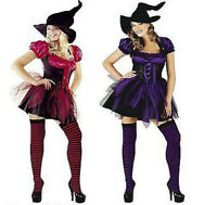 Ladies Womens Sexy Witch Halloween Fancy Dress Costume Full Satin Silk Purple