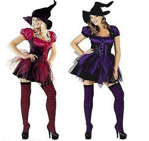 Mujer-Bruja-Sexy-Disfraz-Halloween-Completo-Saten-Seda-LILA