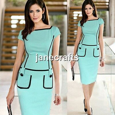 Women Celeb Stretch Fitted Bodycon Slim Work Cocktail Party Evening Pencil Dress