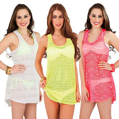 Konstruktiv Boutique Womens Crochet Beach Vest Top Ladies Summer Kaftan Bikini Cover Up Sale