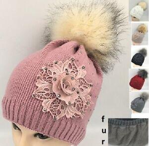 ee88dfd52 Details about Warm Winter Ski Beanie Hat Fur Pom Pom Bling Crystal Studded  Lace Floral Flower