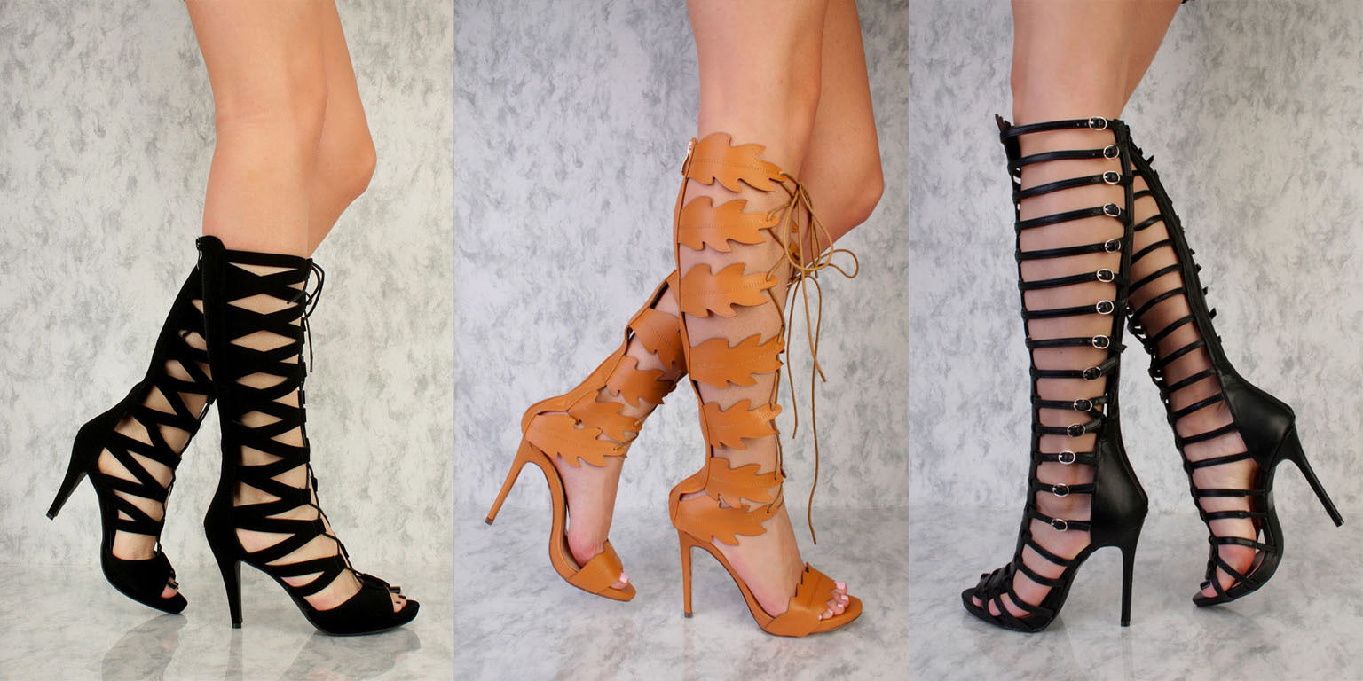 LOT 6 BLACK CAMEL SWIRL STRAPPY BUCKLE LACE UP HIGH HEELS NUBUCK FAUX LEATHER
