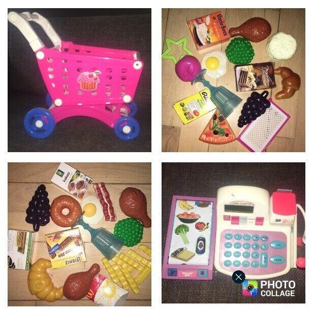 Andet legetøj, Legemad plastikmad pink indkøbsvogn